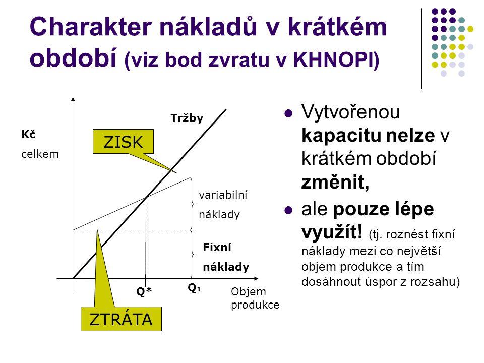 Charakter nákladů v krátkém období (viz bod zvratu v KHNOPI)