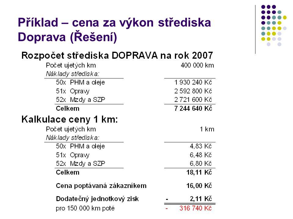 Příklad – cena za výkon střediska Doprava (Řešení)