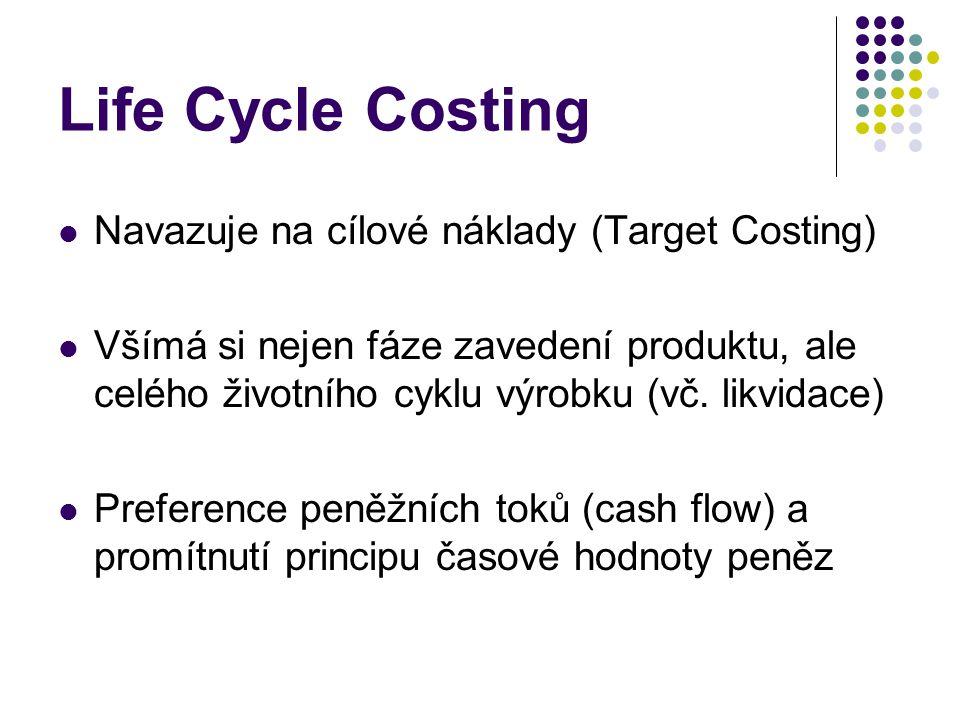 Life Cycle Costing Navazuje na cílové náklady (Target Costing)