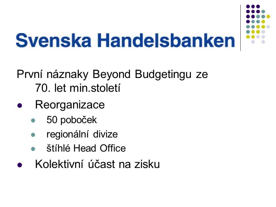První náznaky Beyond Budgetingu ze 70. let min.století Reorganizace