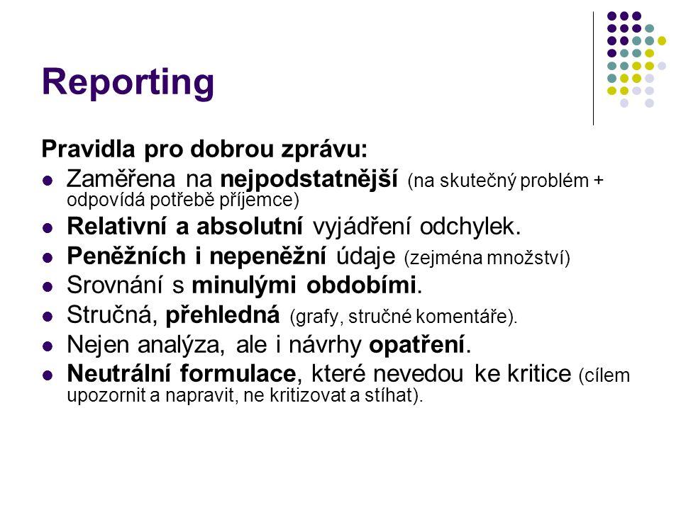 Reporting Pravidla pro dobrou zprávu: