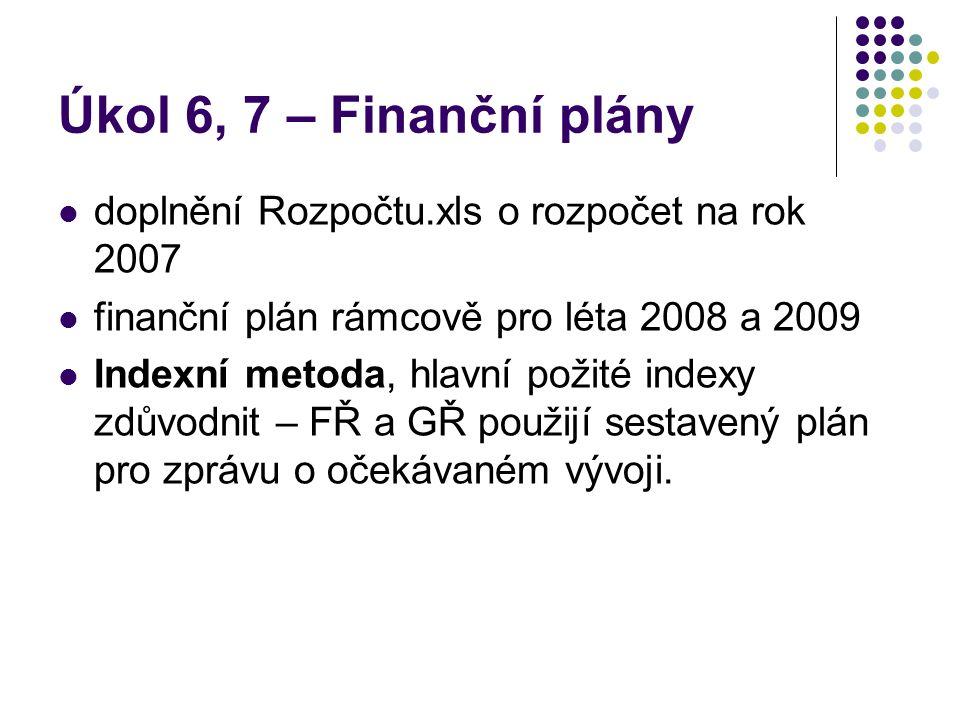 Úkol 6, 7 – Finanční plány doplnění Rozpočtu.xls o rozpočet na rok 2007. finanční plán rámcově pro léta 2008 a 2009.