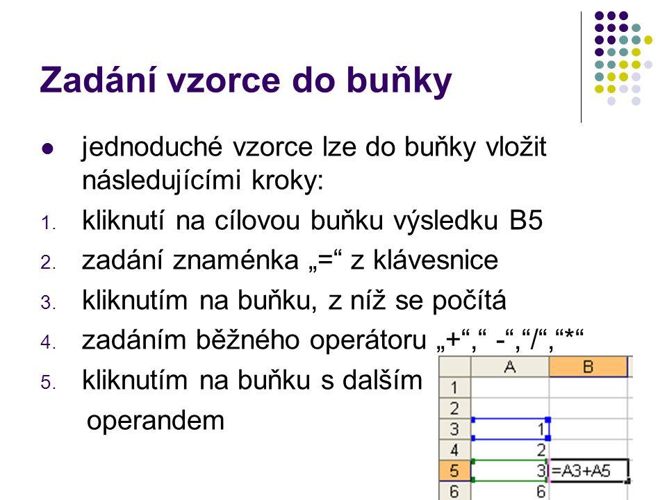 Zadání vzorce do buňky jednoduché vzorce lze do buňky vložit následujícími kroky: kliknutí na cílovou buňku výsledku B5.