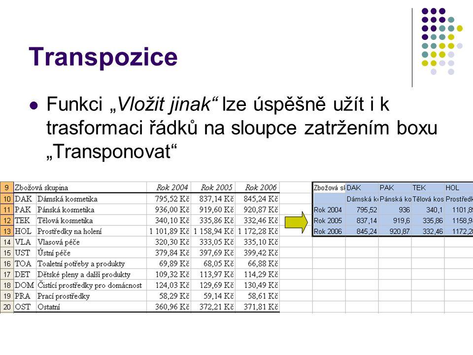 """Transpozice Funkci """"Vložit jinak lze úspěšně užít i k trasformaci řádků na sloupce zatržením boxu """"Transponovat"""