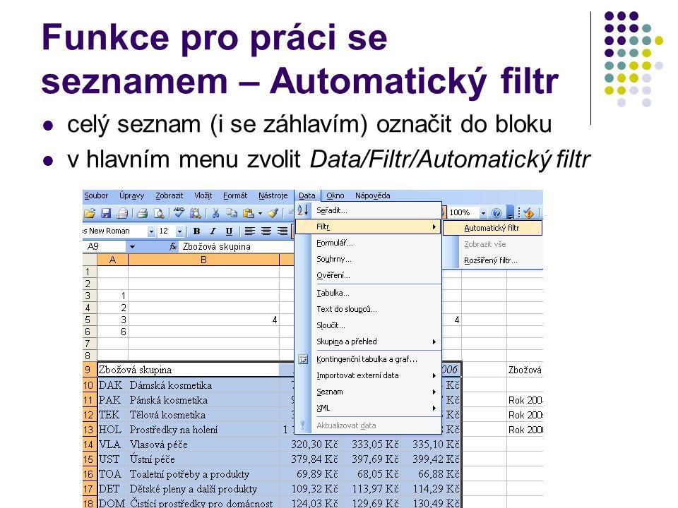 Funkce pro práci se seznamem – Automatický filtr