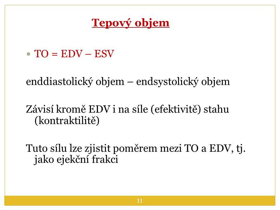 Tepový objem TO = EDV – ESV enddiastolický objem – endsystolický objem