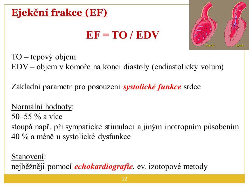 EF = TO / EDV Ejekční frakce (EF) TO – tepový objem