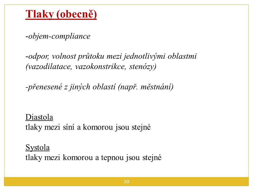 Tlaky (obecně) objem-compliance