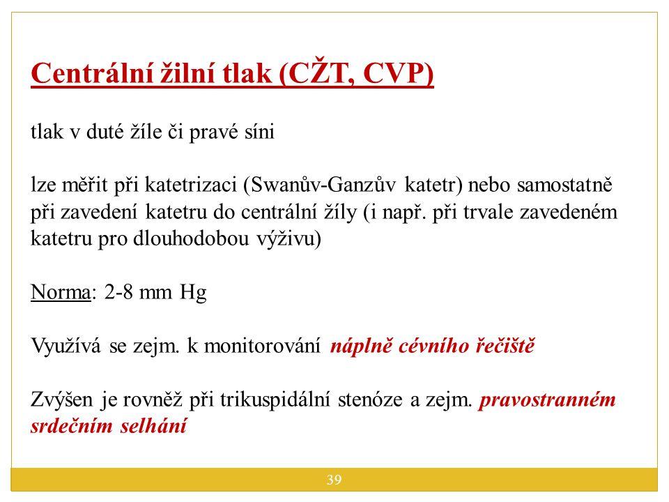 Centrální žilní tlak (CŽT, CVP)