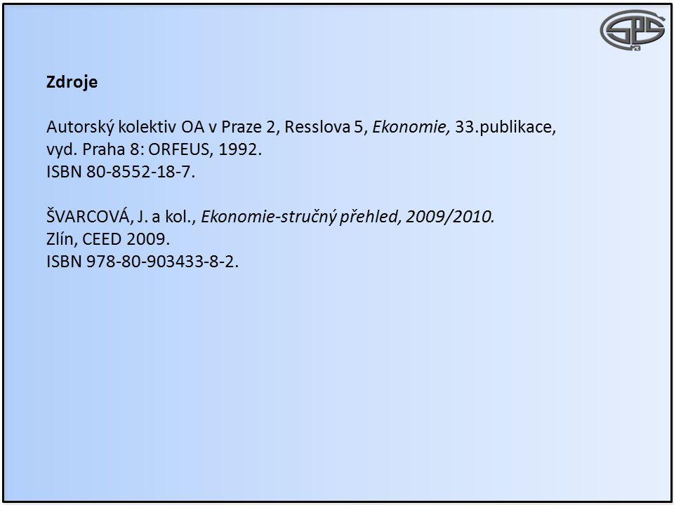 Zdroje Autorský kolektiv OA v Praze 2, Resslova 5, Ekonomie, 33.publikace, vyd. Praha 8: ORFEUS, 1992.