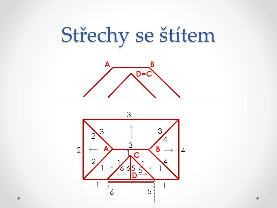Střechy se štítem A B D=C 3 3 3 2 4 3 2 A B 4 1 C 2 1 4 1 1 6 6 5 1 5
