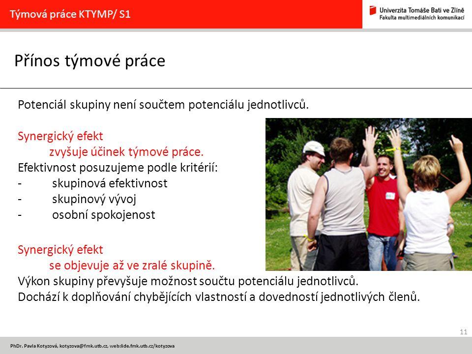Týmová práce KTYMP/ S1 Přínos týmové práce. Potenciál skupiny není součtem potenciálu jednotlivců.