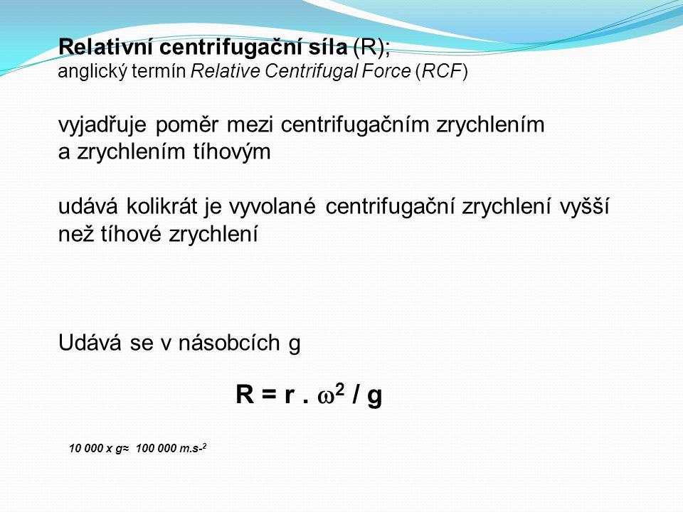 R = r . 2 / g Relativní centrifugační síla (R);
