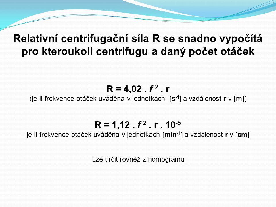 Relativní centrifugační síla R se snadno vypočítá