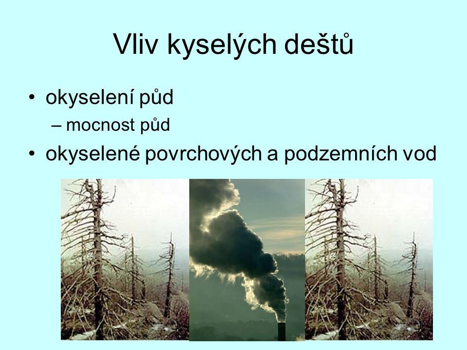 Vliv kyselých deštů okyselení půd