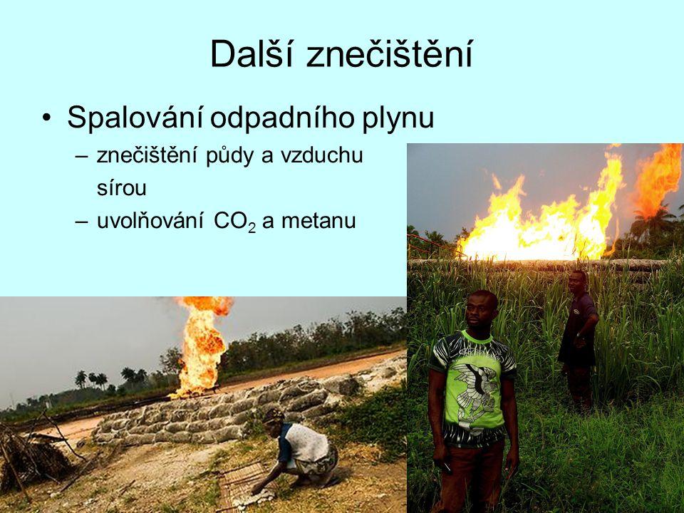 Další znečištění Spalování odpadního plynu znečištění půdy a vzduchu
