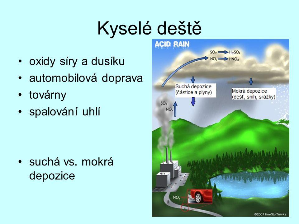 Kyselé deště oxidy síry a dusíku automobilová doprava továrny