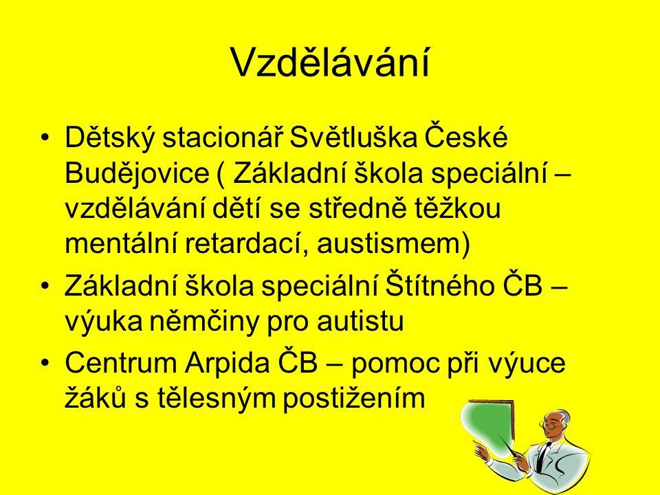 Vzdělávání Dětský stacionář Světluška České Budějovice ( Základní škola speciální – vzdělávání dětí se středně těžkou mentální retardací, austismem)