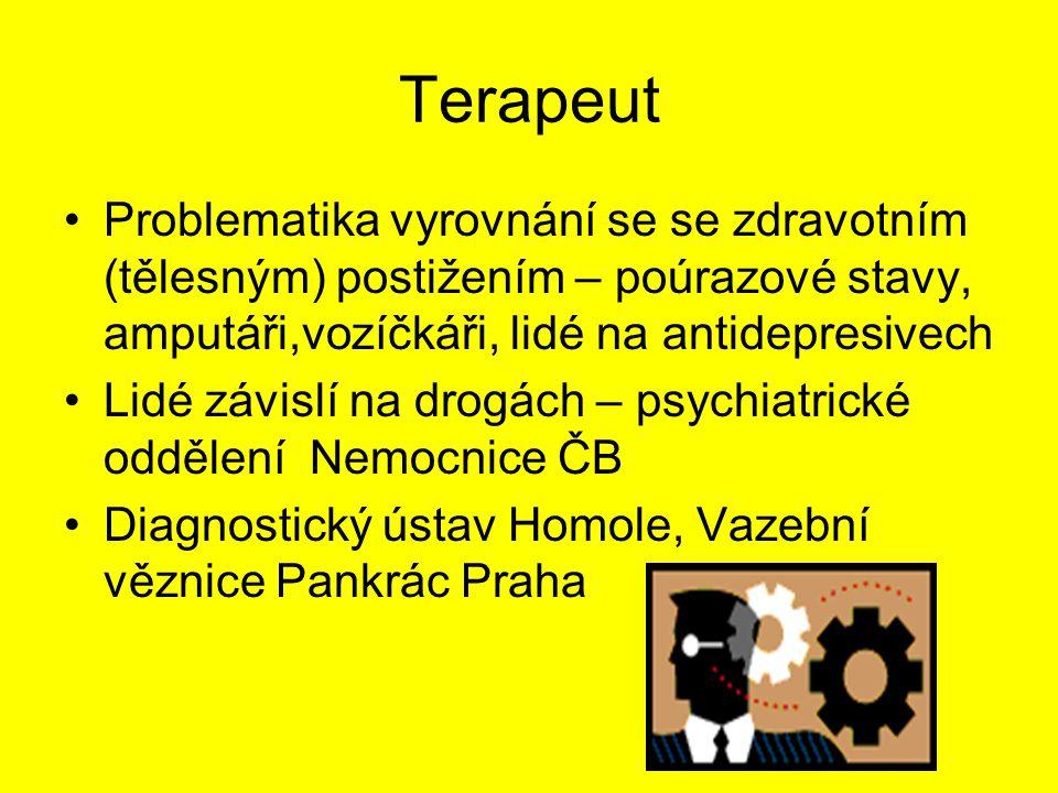 Terapeut Problematika vyrovnání se se zdravotním (tělesným) postižením – poúrazové stavy, amputáři,vozíčkáři, lidé na antidepresivech.