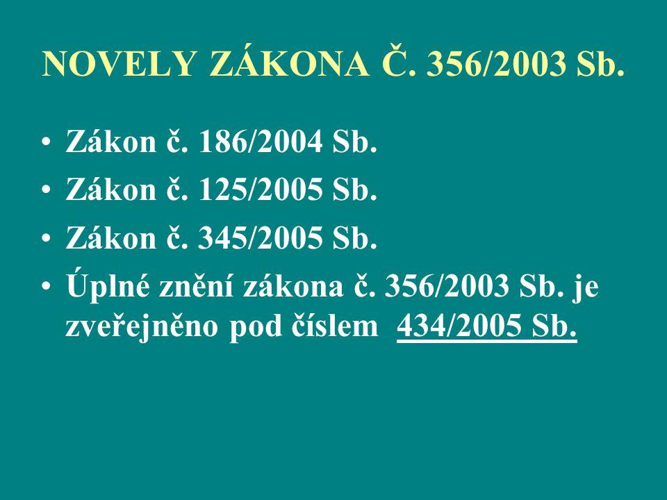 NOVELY ZÁKONA Č. 356/2003 Sb. Zákon č. 186/2004 Sb.