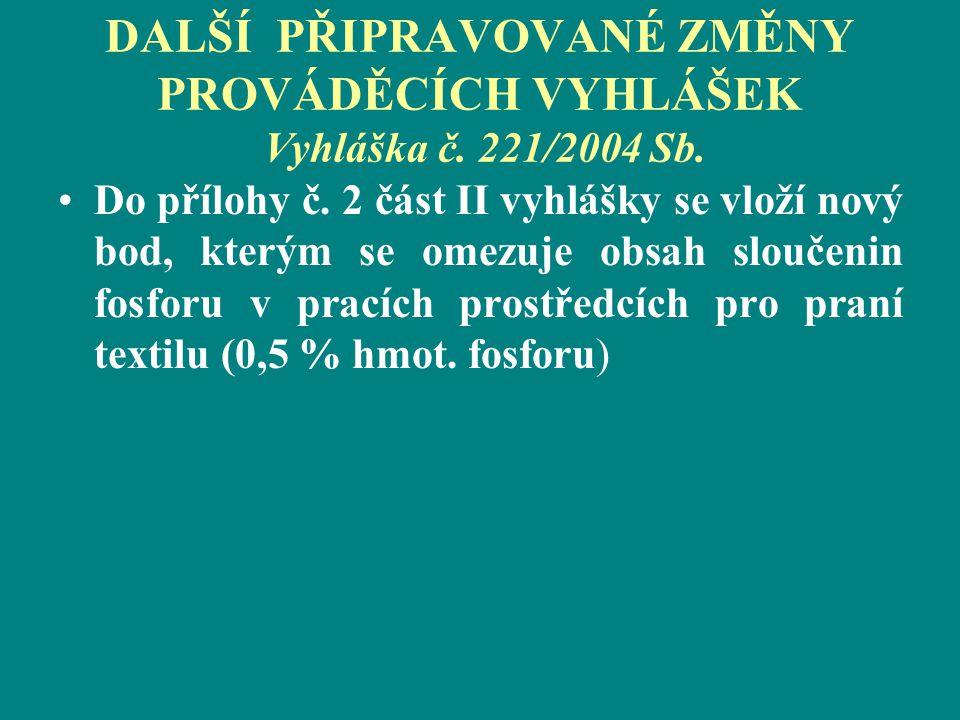 DALŠÍ PŘIPRAVOVANÉ ZMĚNY PROVÁDĚCÍCH VYHLÁŠEK Vyhláška č. 221/2004 Sb.