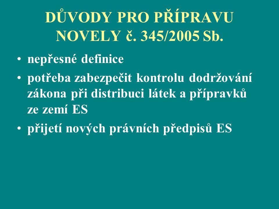DŮVODY PRO PŘÍPRAVU NOVELY č. 345/2005 Sb.