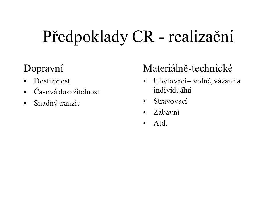 Předpoklady CR - realizační