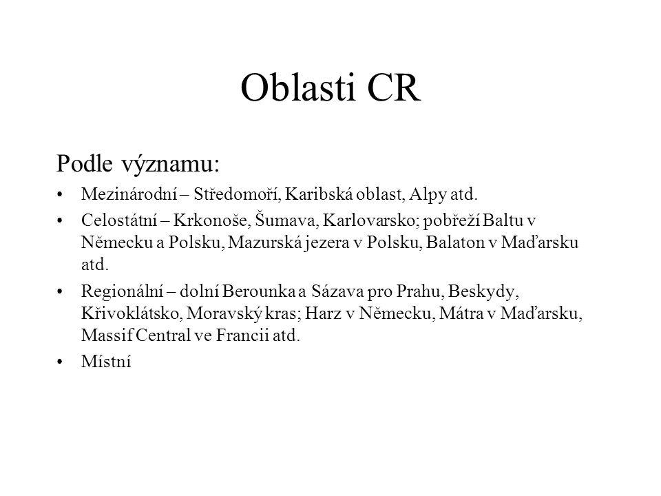 Oblasti CR Podle významu: