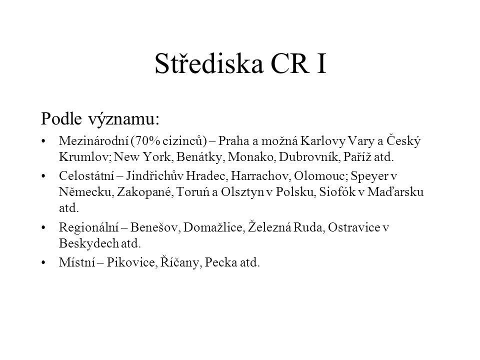 Střediska CR I Podle významu: