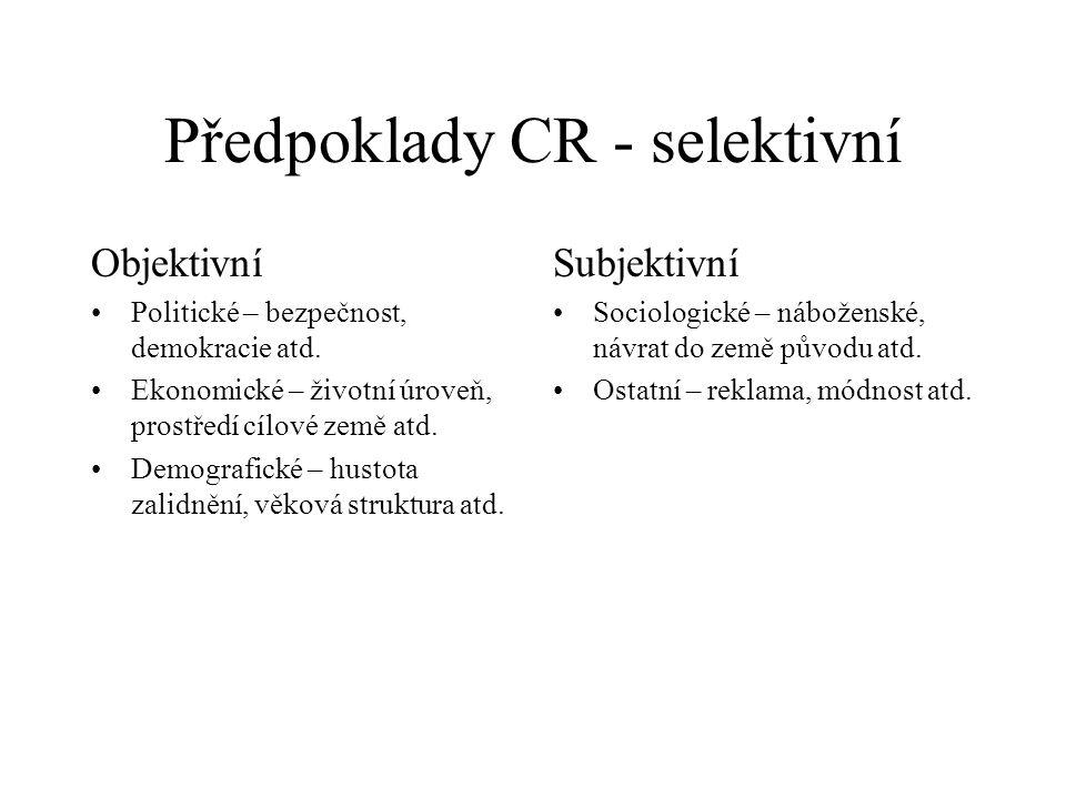 Předpoklady CR - selektivní