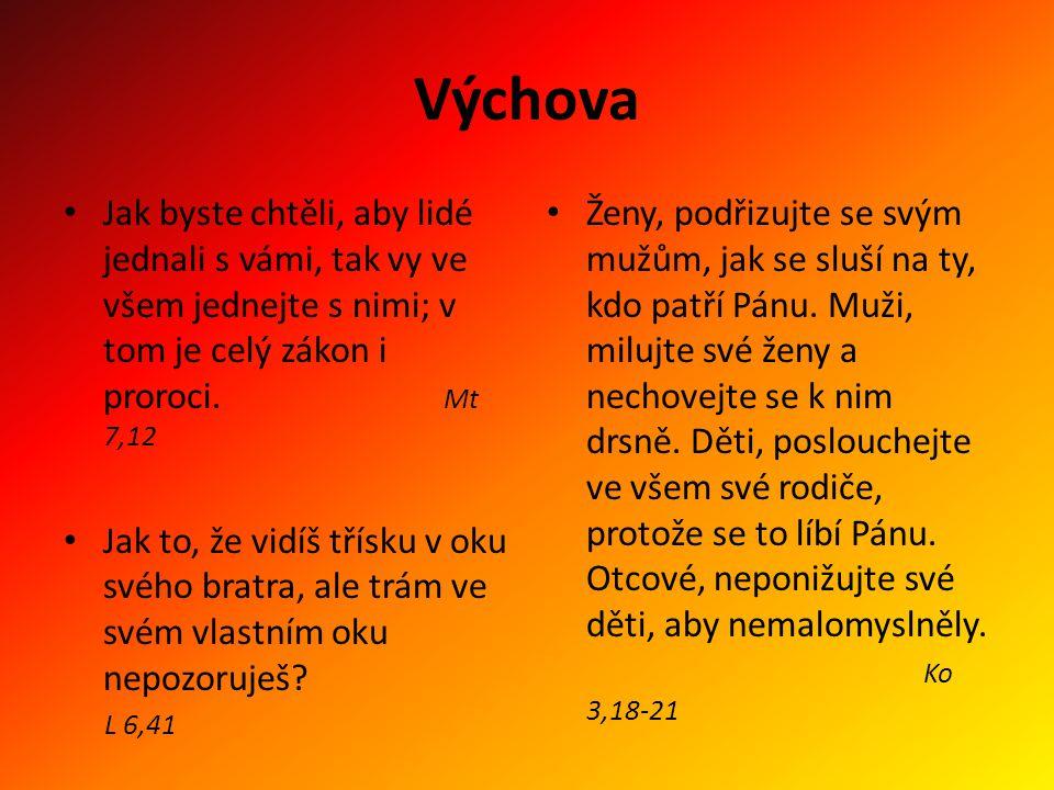 Výchova Jak byste chtěli, aby lidé jednali s vámi, tak vy ve všem jednejte s nimi; v tom je celý zákon i proroci. Mt 7,12.