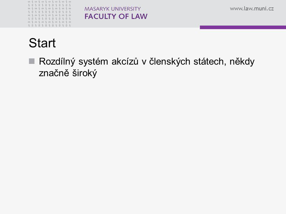 Start Rozdílný systém akcízů v členských státech, někdy značně široký