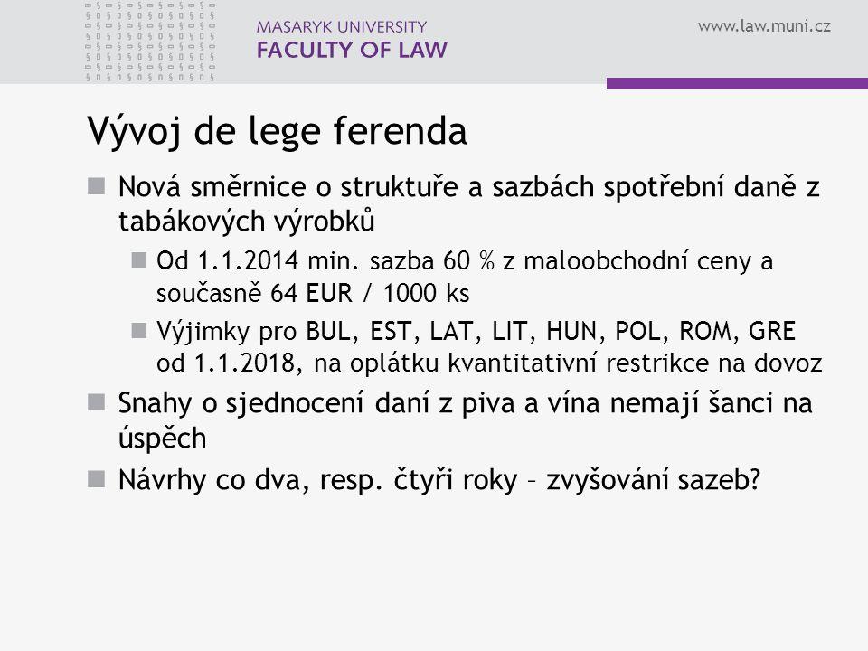 Vývoj de lege ferenda Nová směrnice o struktuře a sazbách spotřební daně z tabákových výrobků.