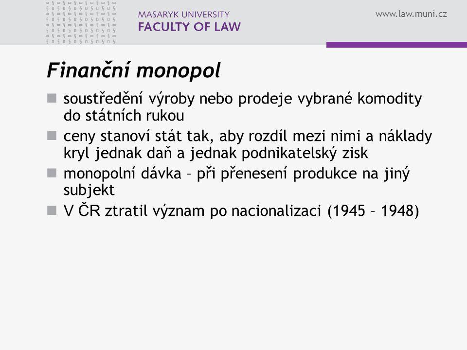 Finanční monopol soustředění výroby nebo prodeje vybrané komodity do státních rukou.