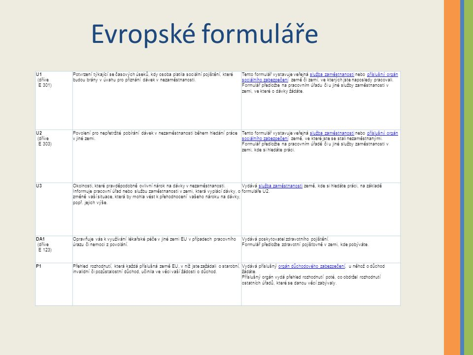 Evropské formuláře U1 (dříve E 301)