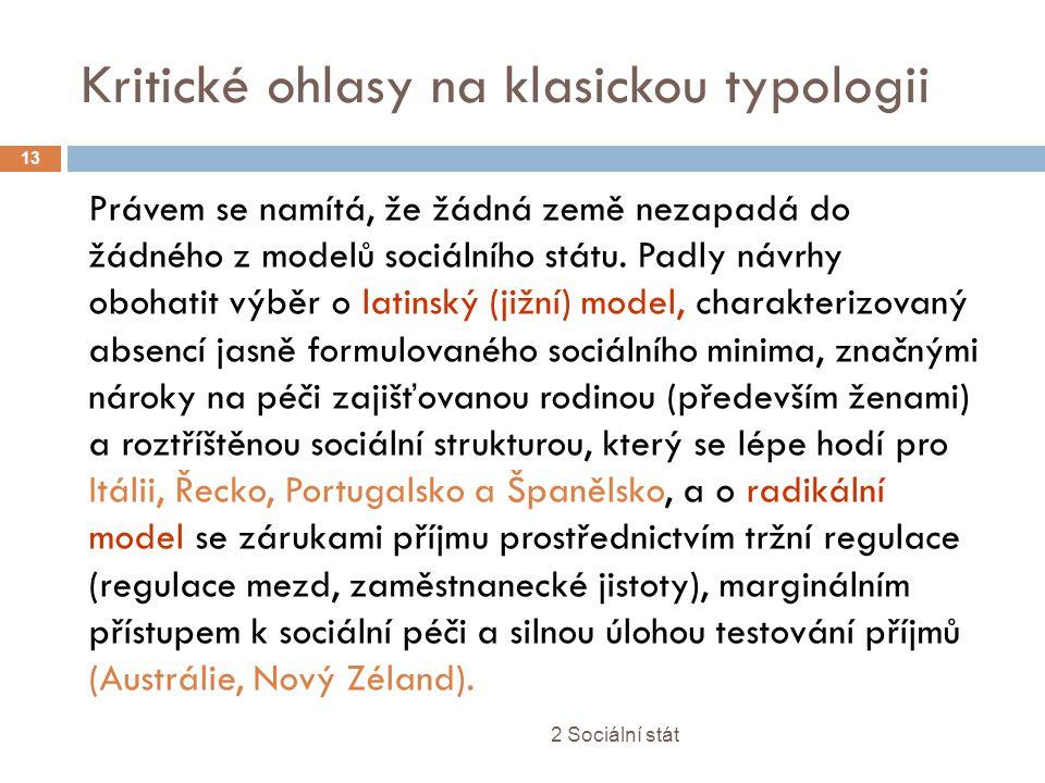 Kritické ohlasy na klasickou typologii