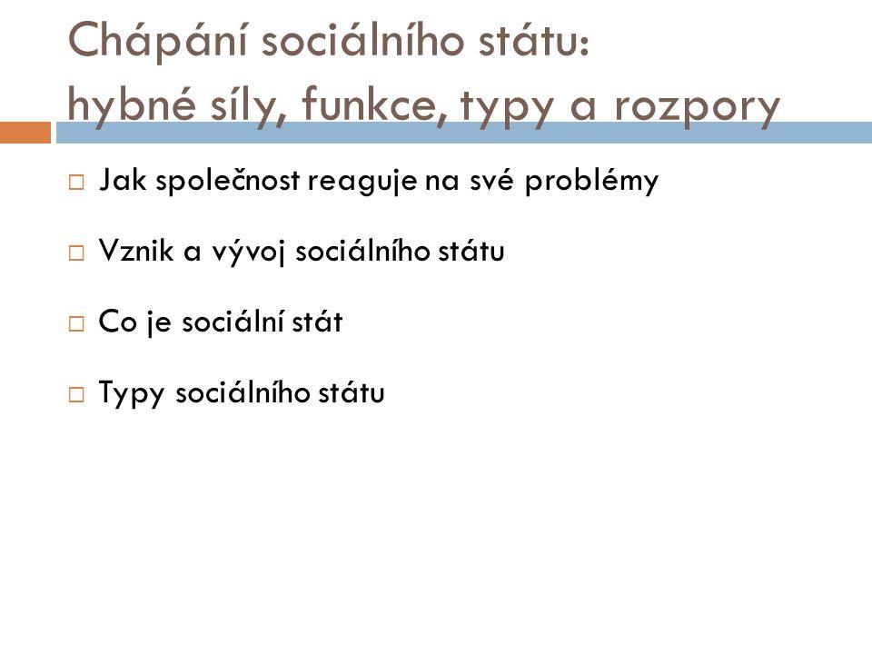 Chápání sociálního státu: hybné síly, funkce, typy a rozpory