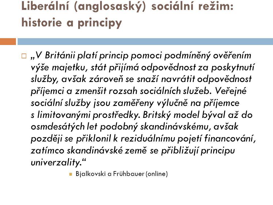 Liberální (anglosaský) sociální režim: historie a principy