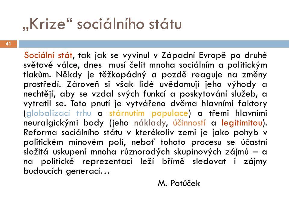 """""""Krize sociálního státu"""