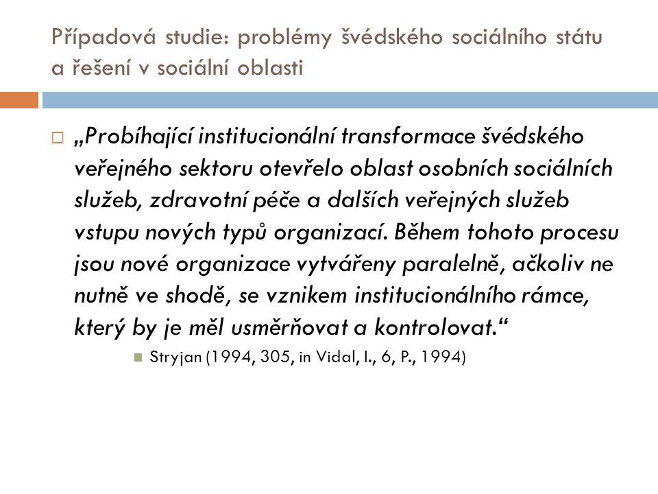 Případová studie: problémy švédského sociálního státu a řešení v sociální oblasti