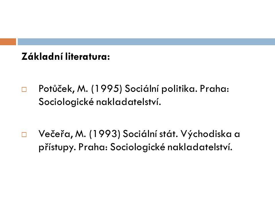 Základní literatura: Potůček, M. (1995) Sociální politika. Praha: Sociologické nakladatelství.