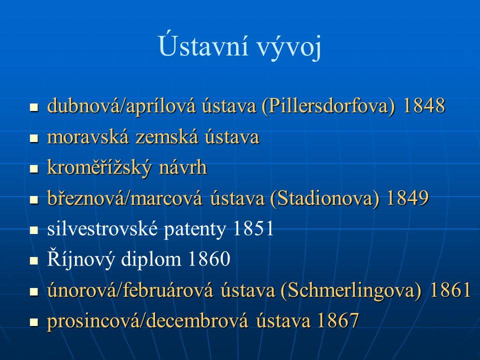 Ústavní vývoj dubnová/aprílová ústava (Pillersdorfova) 1848