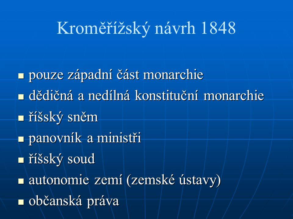 Kroměřížský návrh 1848 pouze západní část monarchie