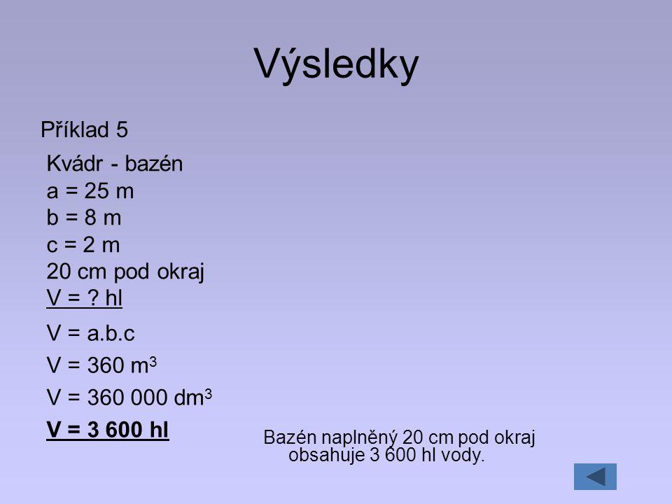 Výsledky Příklad 5 Kvádr - bazén a = 25 m b = 8 m c = 2 m