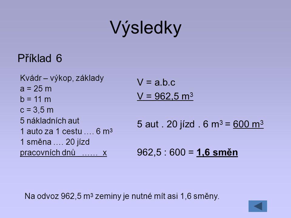 Výsledky Příklad 6 V = a.b.c V = 962,5 m3