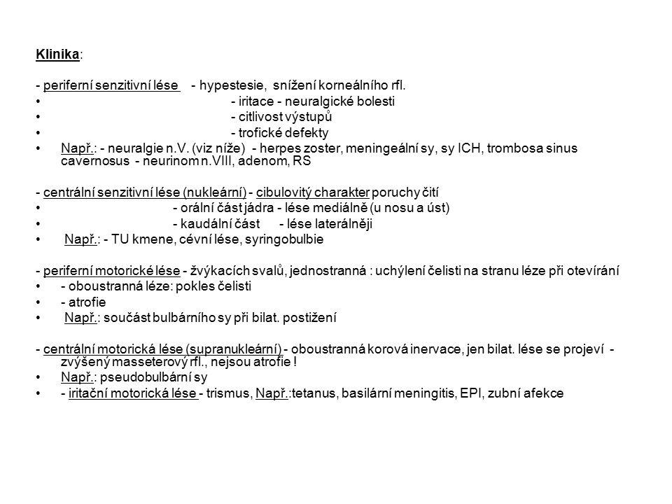 Klinika: - periferní senzitivní lése - hypestesie, snížení korneálního rfl.