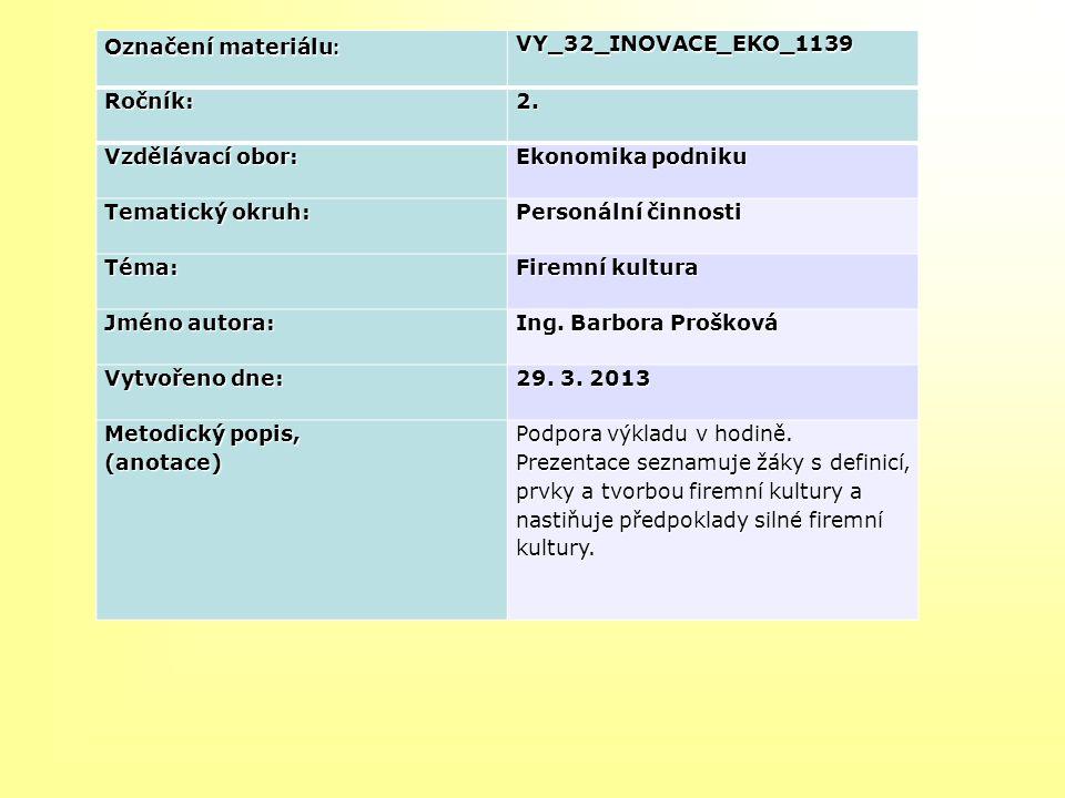 Označení materiálu: VY_32_INOVACE_EKO_1139. Ročník: 2. Vzdělávací obor: Ekonomika podniku. Tematický okruh: