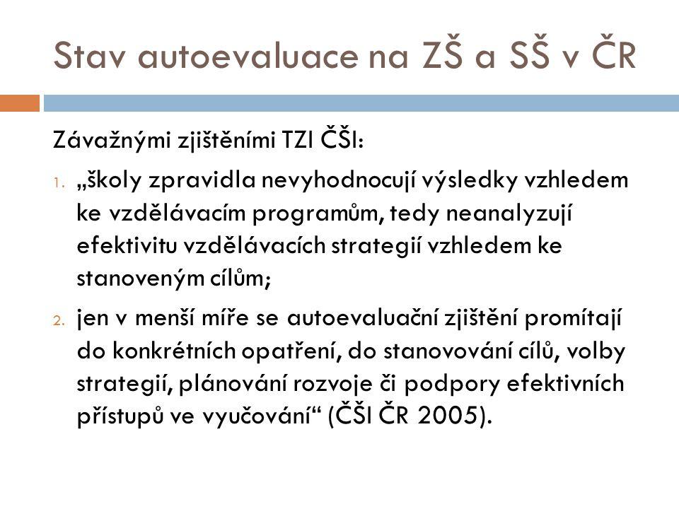 Stav autoevaluace na ZŠ a SŠ v ČR