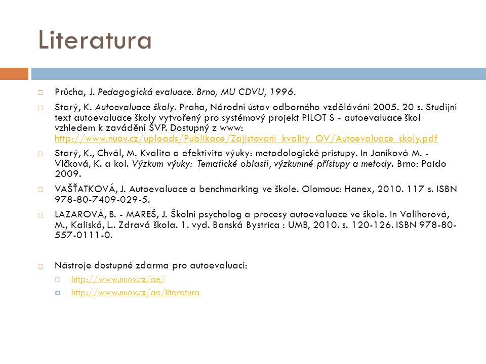 Literatura Průcha, J. Pedagogická evaluace. Brno, MU CDVU, 1996.