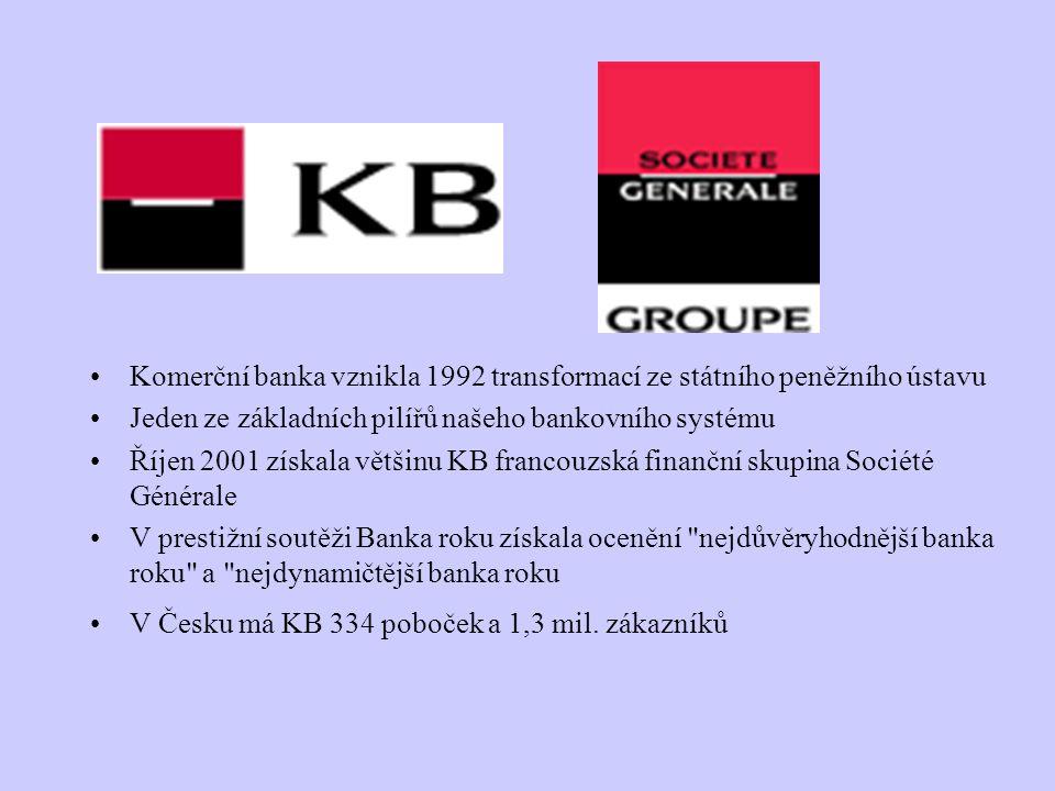 Komerční banka vznikla 1992 transformací ze státního peněžního ústavu